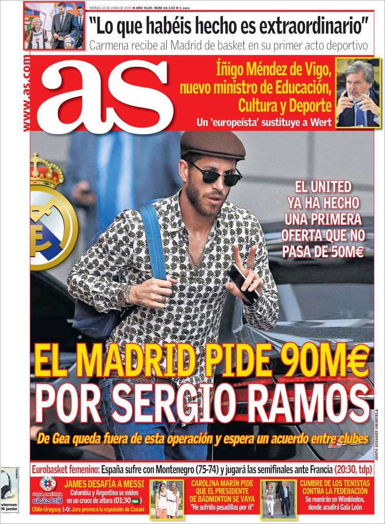 sergio ramos portada as