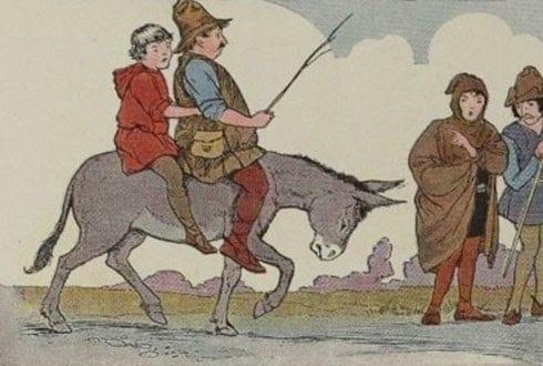 El padre el hijo y el burro