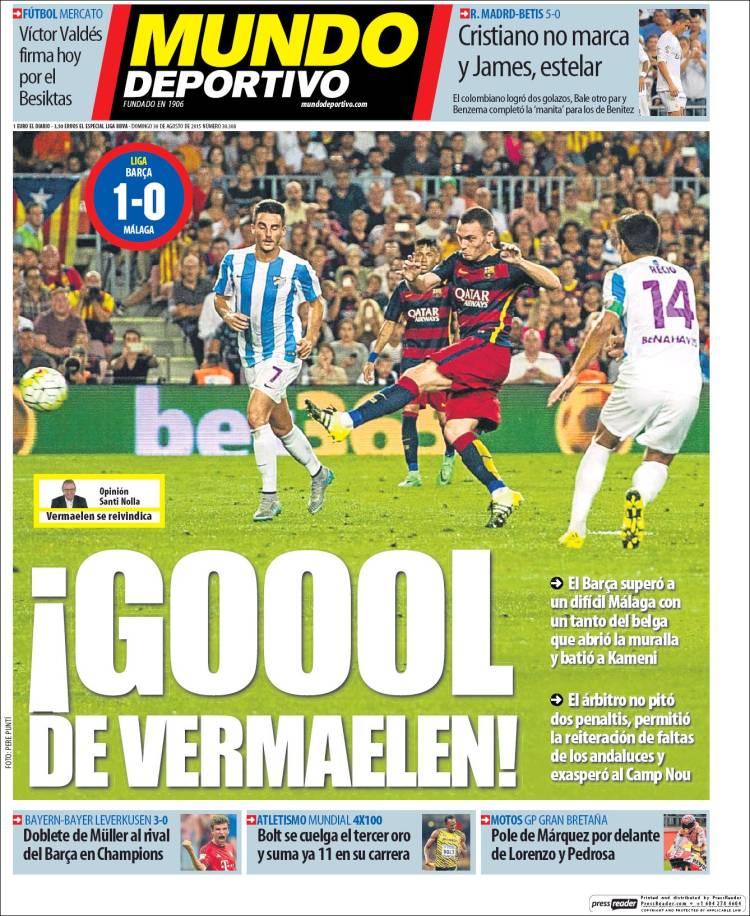 Portada Mundo Deportivo 30.08.15