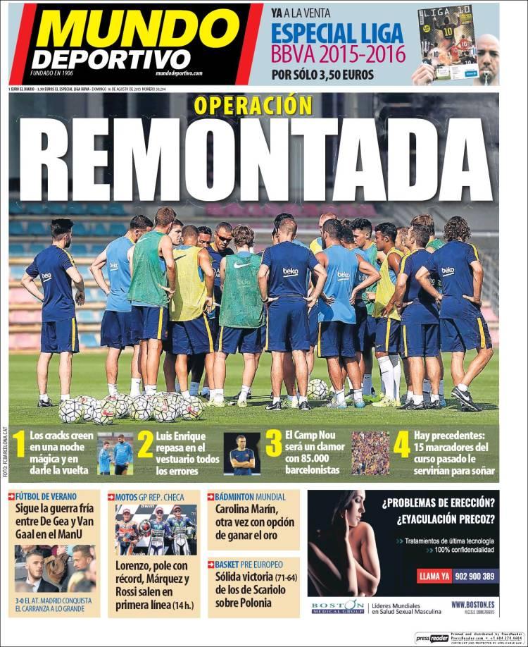 Mundo Deportivo Portada 16.08.15