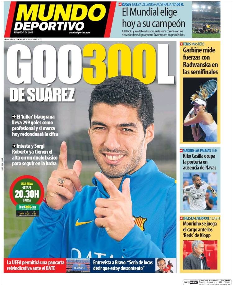Portada Mundo Deportivo 31.10.15