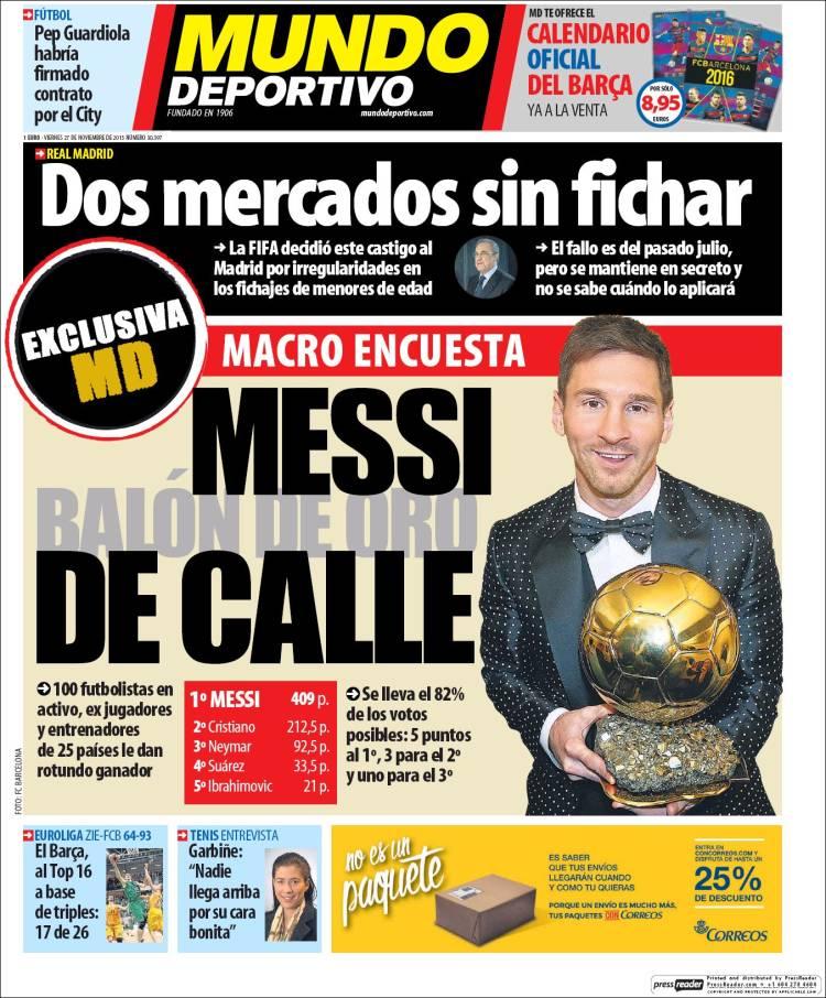 Mundo Deportivo Portada 27.11.15