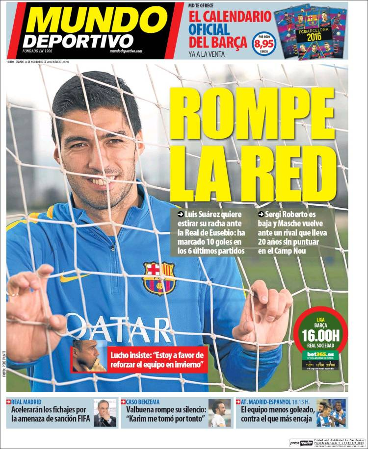 Mundo Deportivo Portada 28.11.15