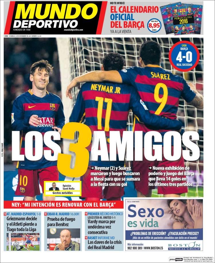 Mundo Deportivo Portada 29.11.15