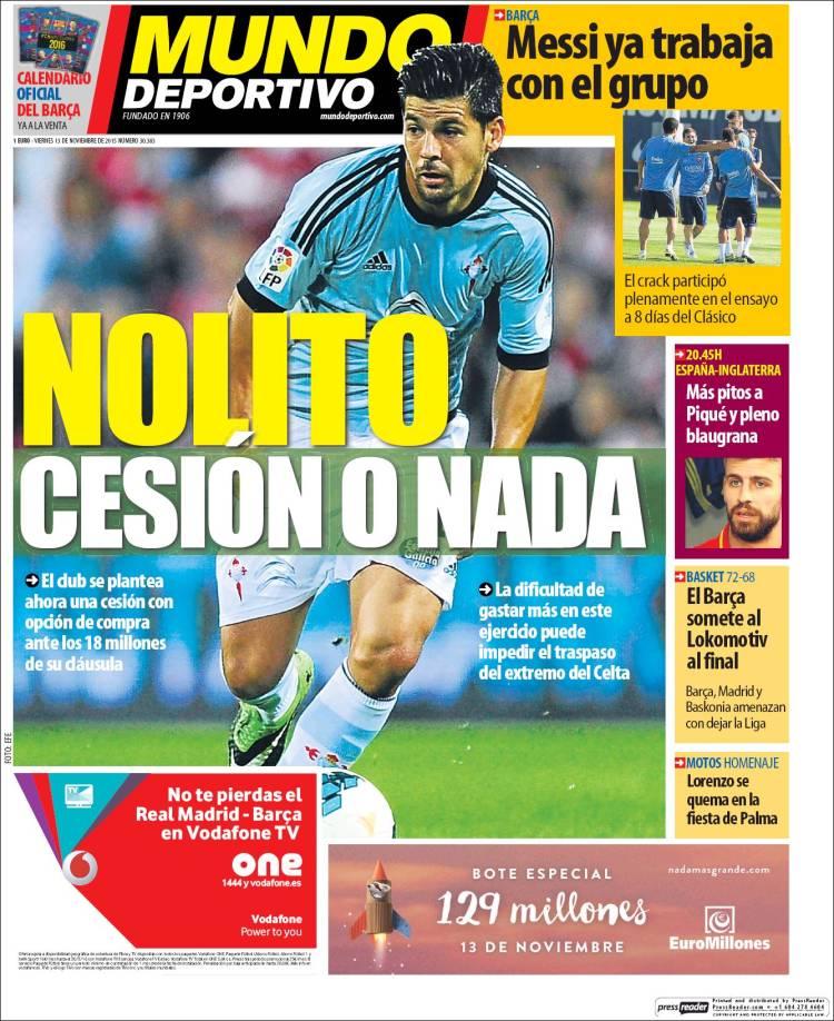 Mundo Deportivo Portada 13.11.15