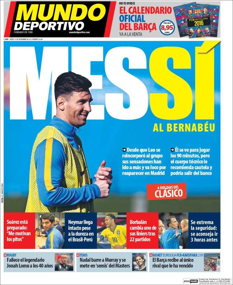 Mundo Deportivo Portada 19.11.15
