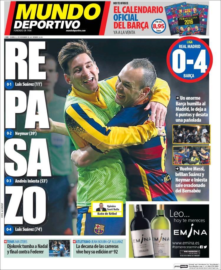 Mundo Deportivo Portada 22.11.15