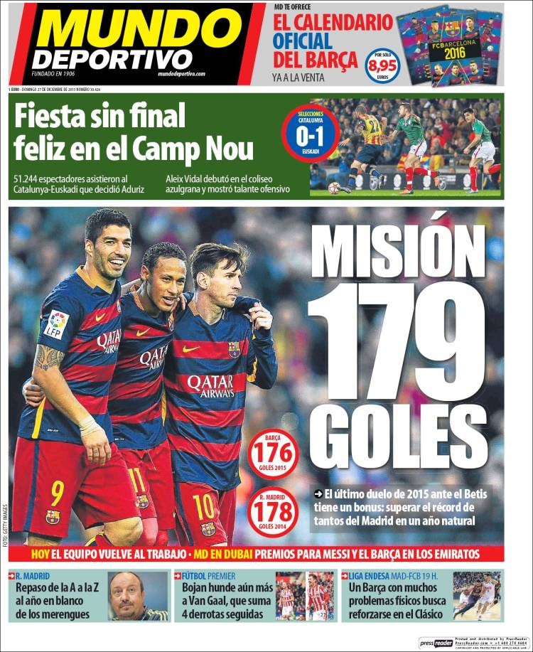 Mundo Deportivo Portada 27.12.15