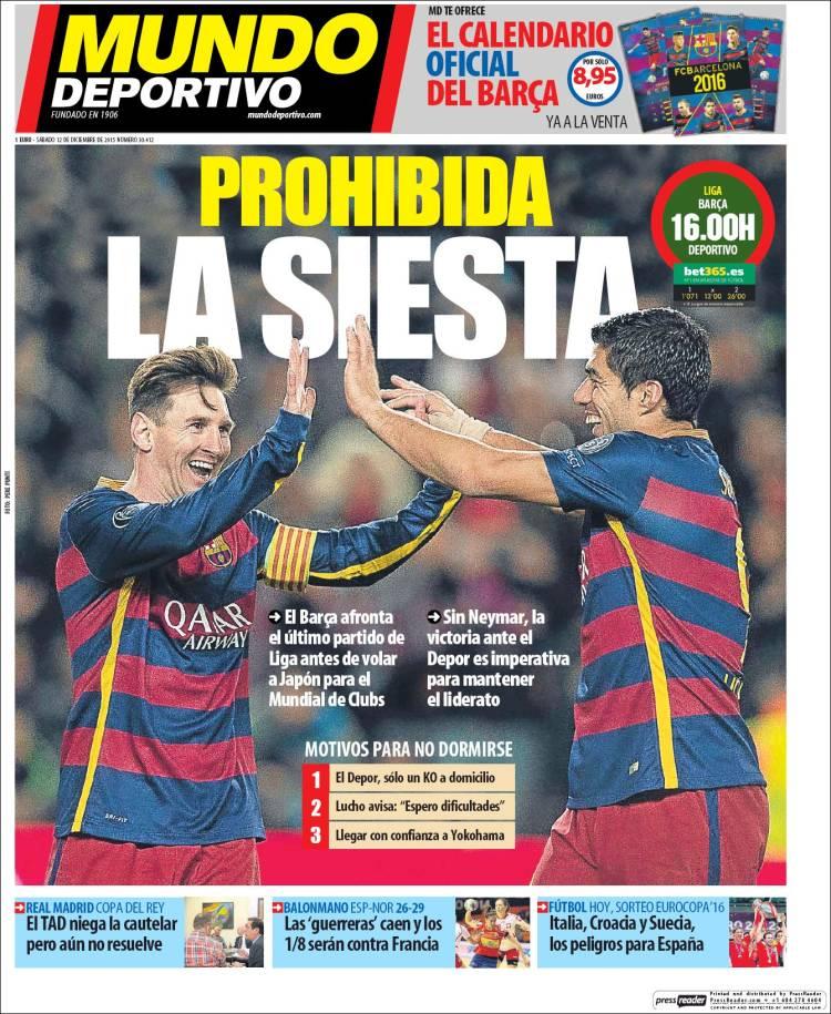 Portada Mundo Deportivo 12.12.15