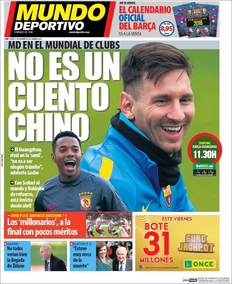 Mundo Deportivo Portada 17.12.15