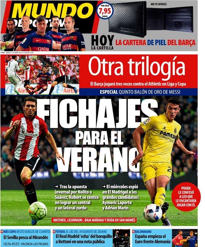 Mundo Deportivo Portada 16.01.16