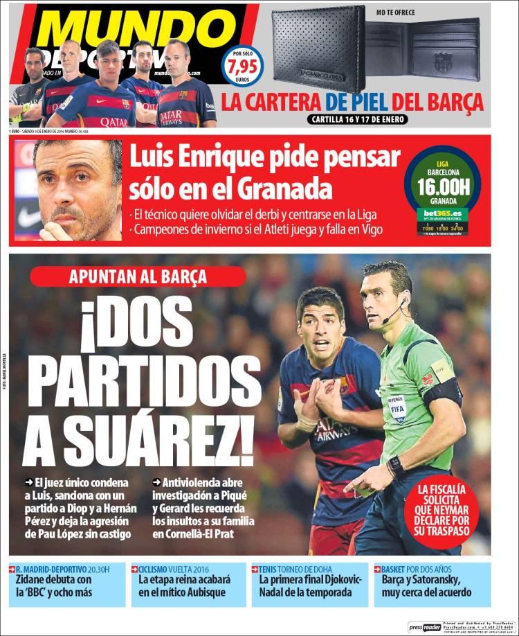 Mundo Deportivo Portada 09.01.16