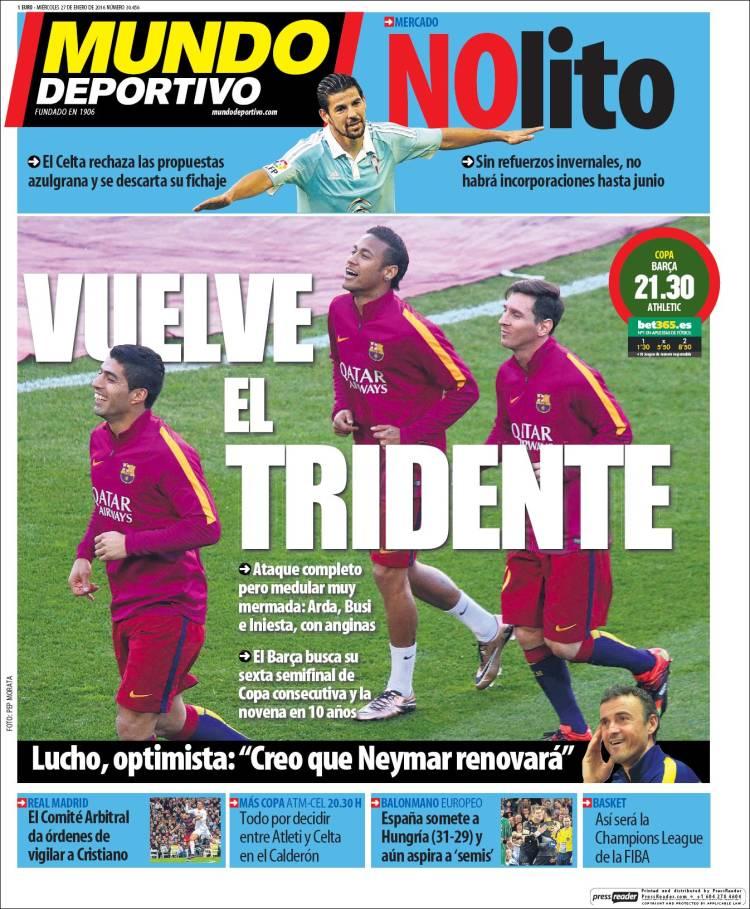 Mundo Deportivo portada 27.01.16