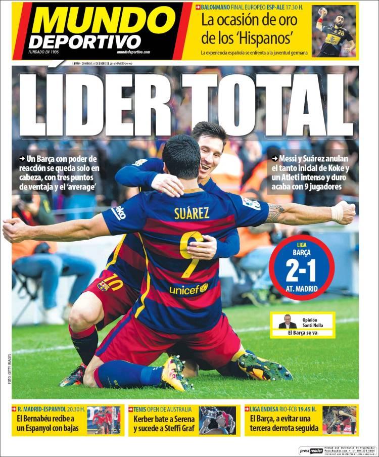 Mundo Deportivo Portada 31.01.16