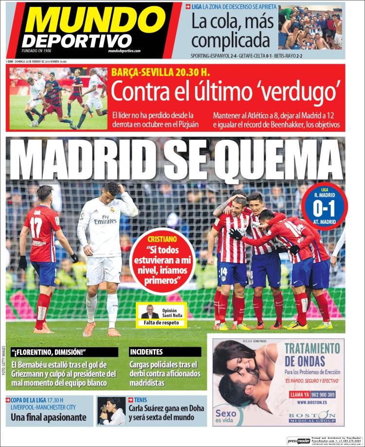 Mundo Deportivo Portada 28.02.16