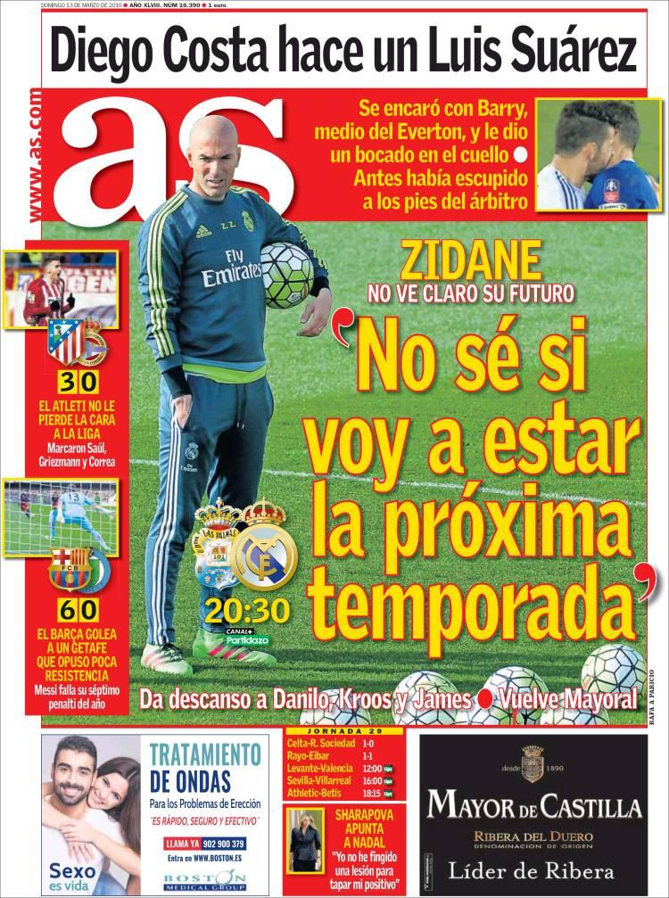 As Portada Zidane próxima temporada 13.03.16
