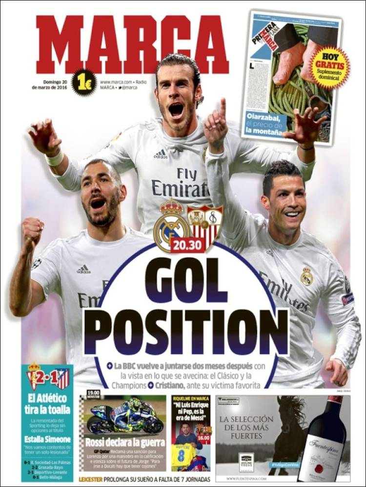 Portada Marca 20.03.16 gol position