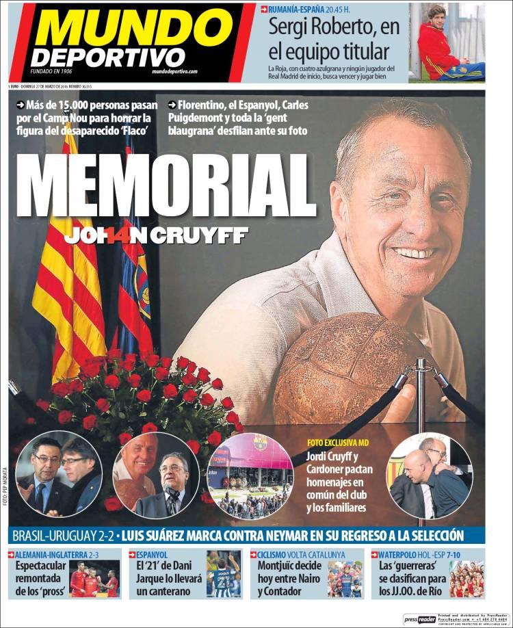 Mundo Deportivo Portada Cruyff 27.03.16