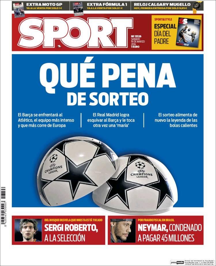 Sport Portada sorteo 19.03.16