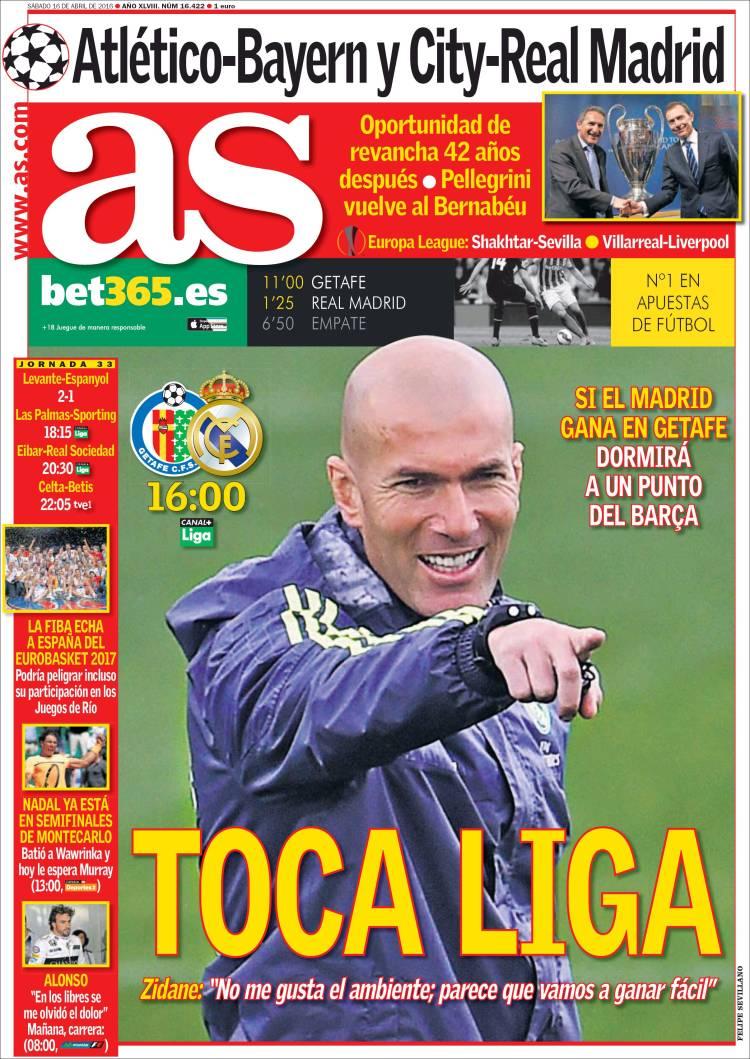 As Portada Toca Liga 16.04.16
