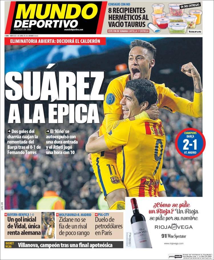 Mundo Deportivo Portada Suárez épica 06.04.16