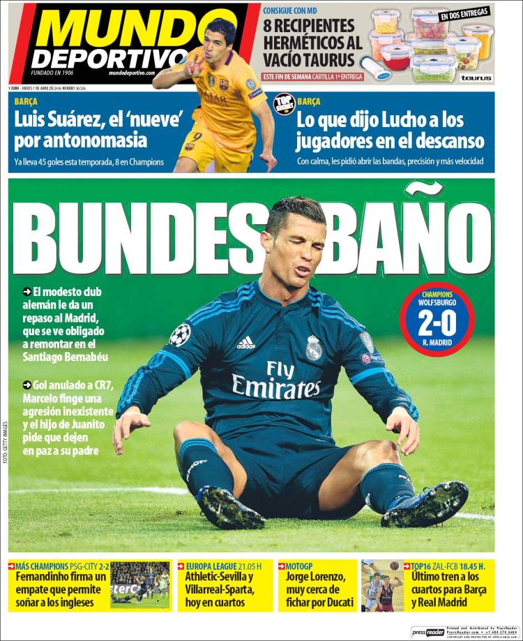Mundo Deportivo Portada Bundesbaño 07.04.16