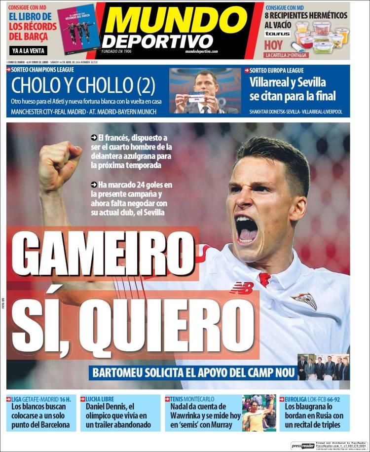 Mundo Deportivo Portada Gameiro 16.04.16