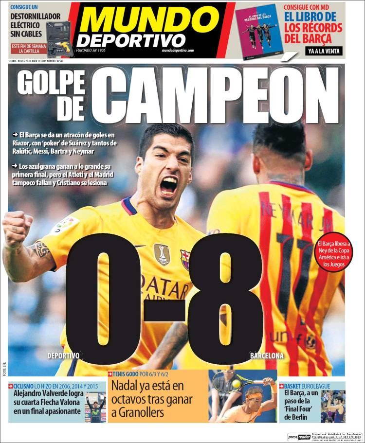 Mundo Deportivo Portada Golpe de campeón 21.04.16