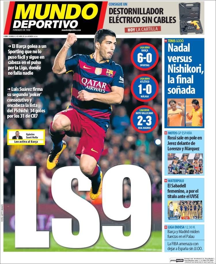 Mundo Deportivo Portada LS9 24.04.16