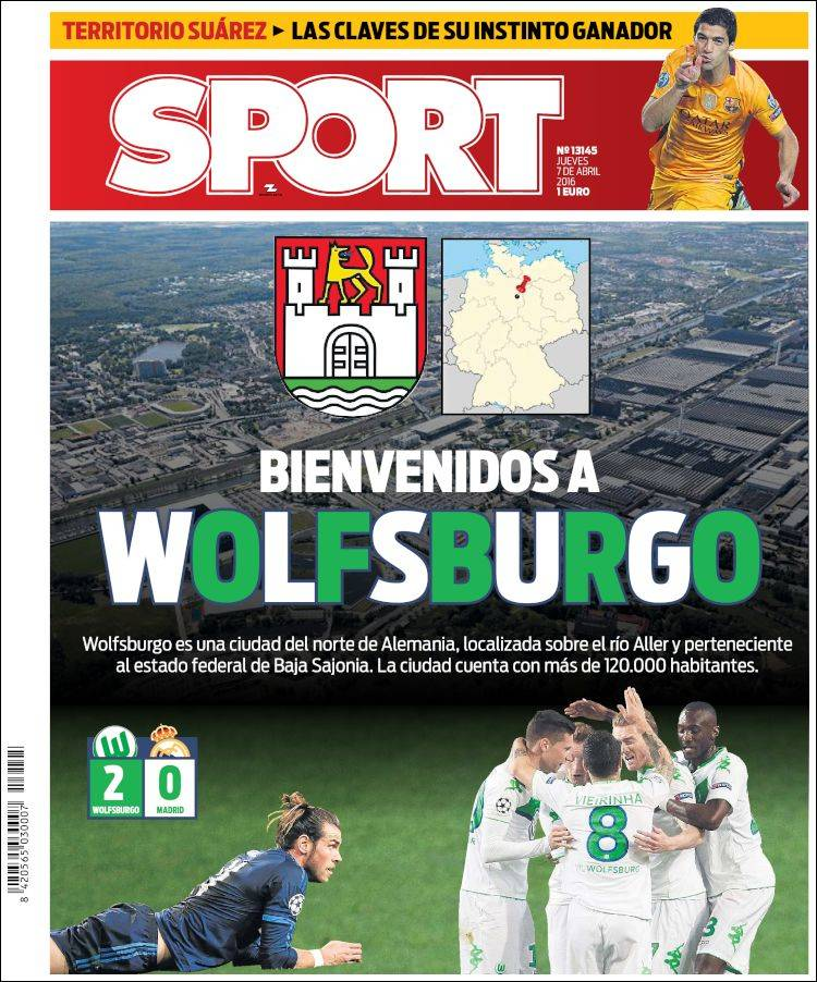 Sport Portada Wolfsburgo 07.04.16