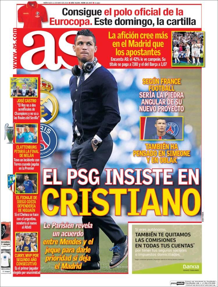 As Portada Cristiano PSG 11.05.16