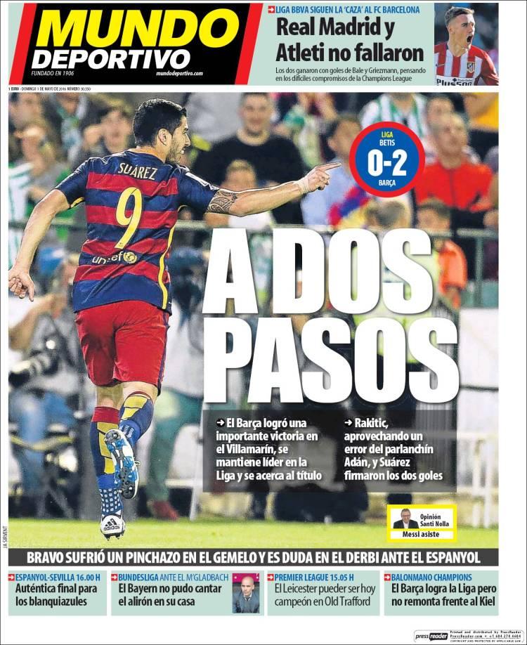 Mundo Deportivo Portada Dos Pasos 01.05.16