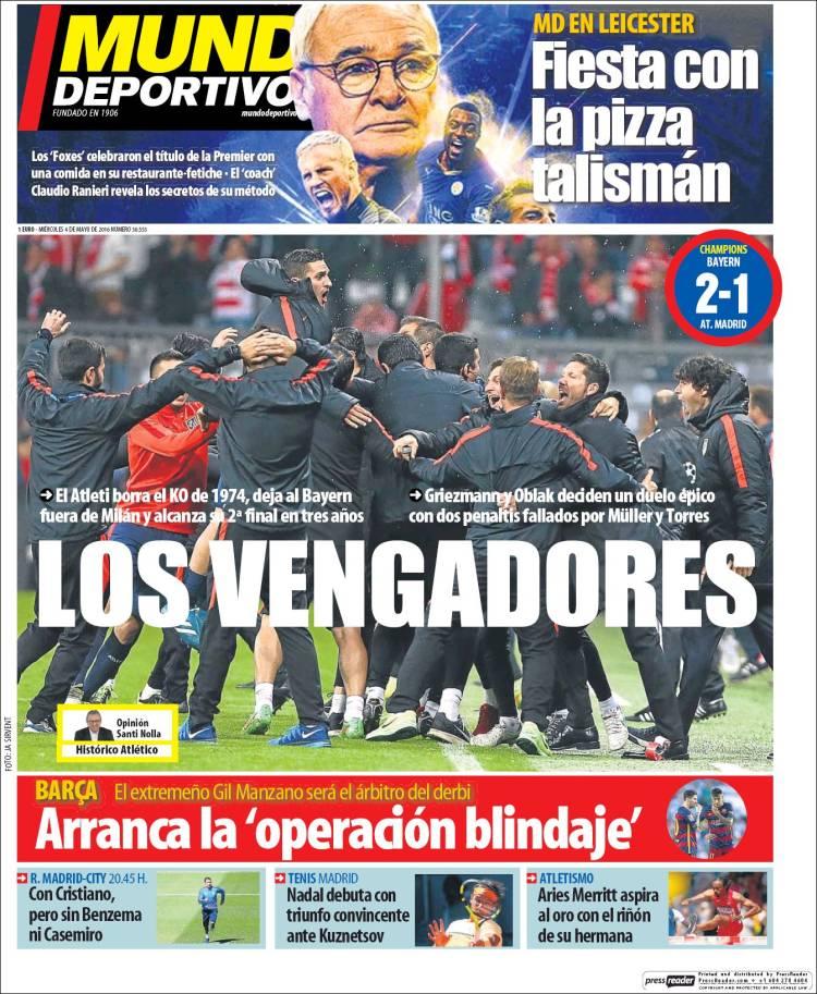 Mundo Deportivo Portada Los Vengadores 04.05.16