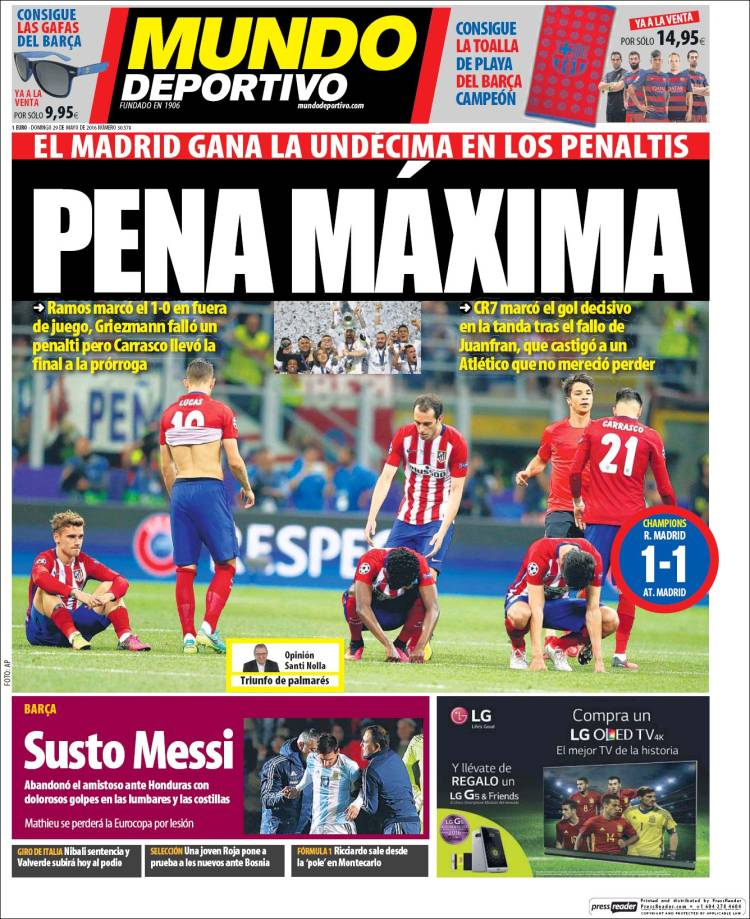 Mundo Deportivo Portada Undécima 29.05.16