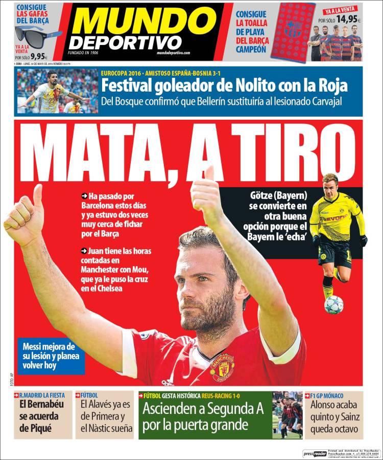 Mundo Deportivo Portada Mata 30.05.16