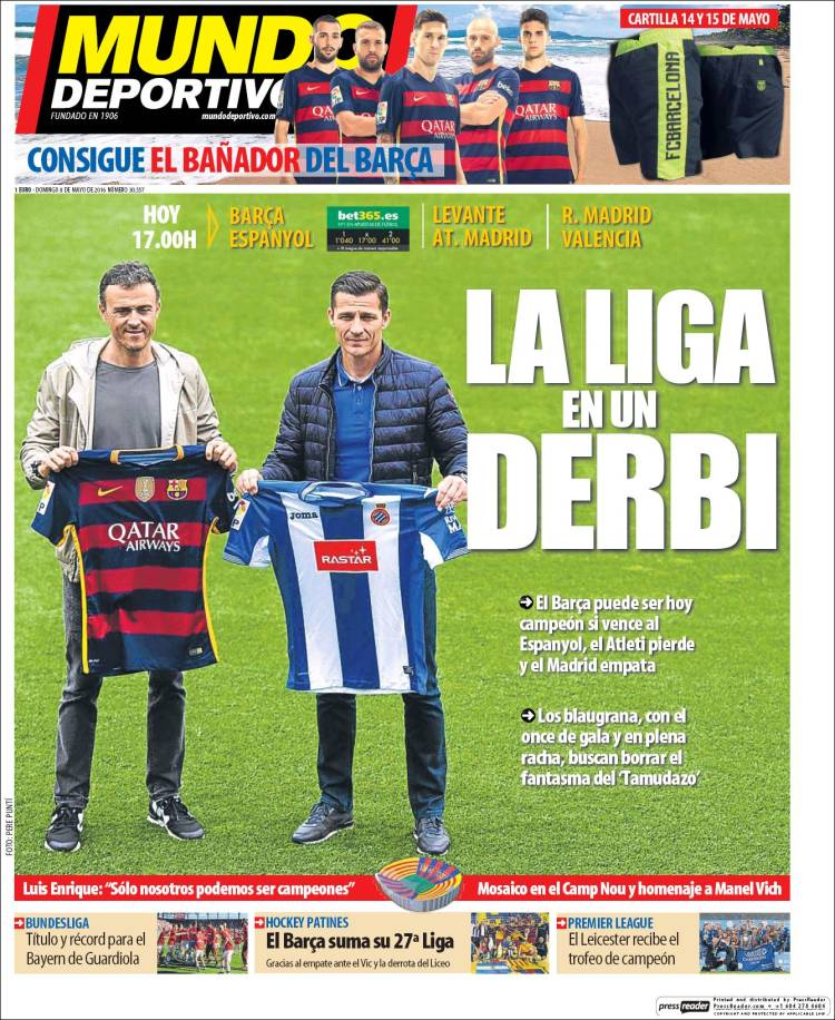 Mundo Deportivo Portada Derbi 08.05.16