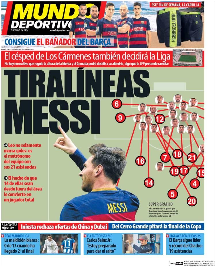 Mundo Deportivo Portada Tiralíneas Messi 12.05.16