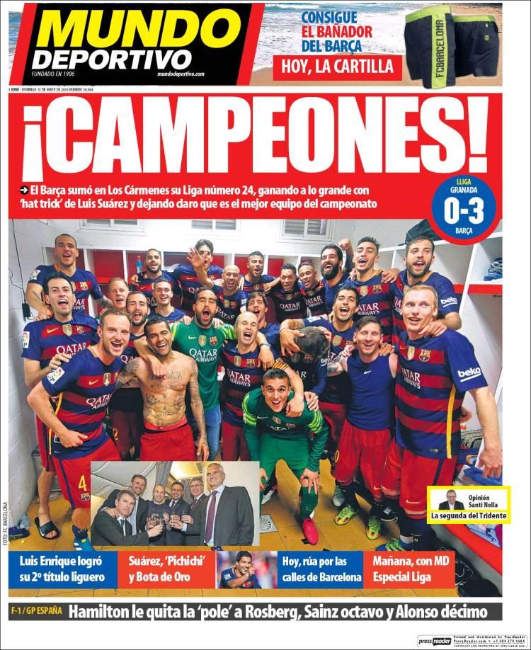 Mundo Deportivo Portada Campeones 15.05.16