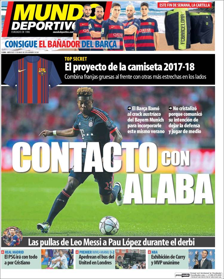 Mundo Deportivo Portada Alaba 11.05.16