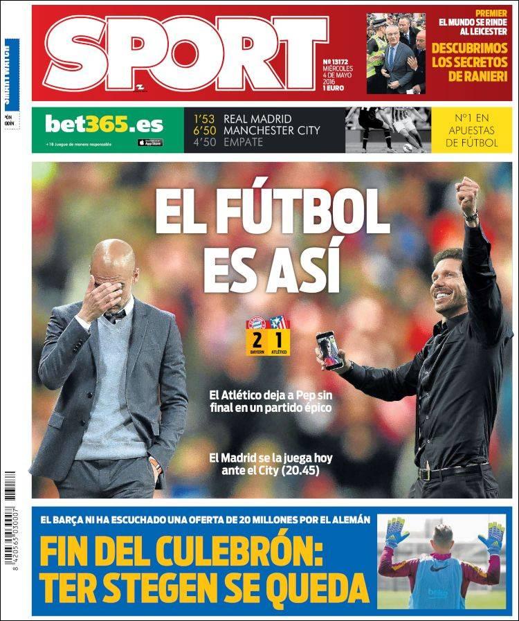 Sport Portada Fútbol es así 04.05.16