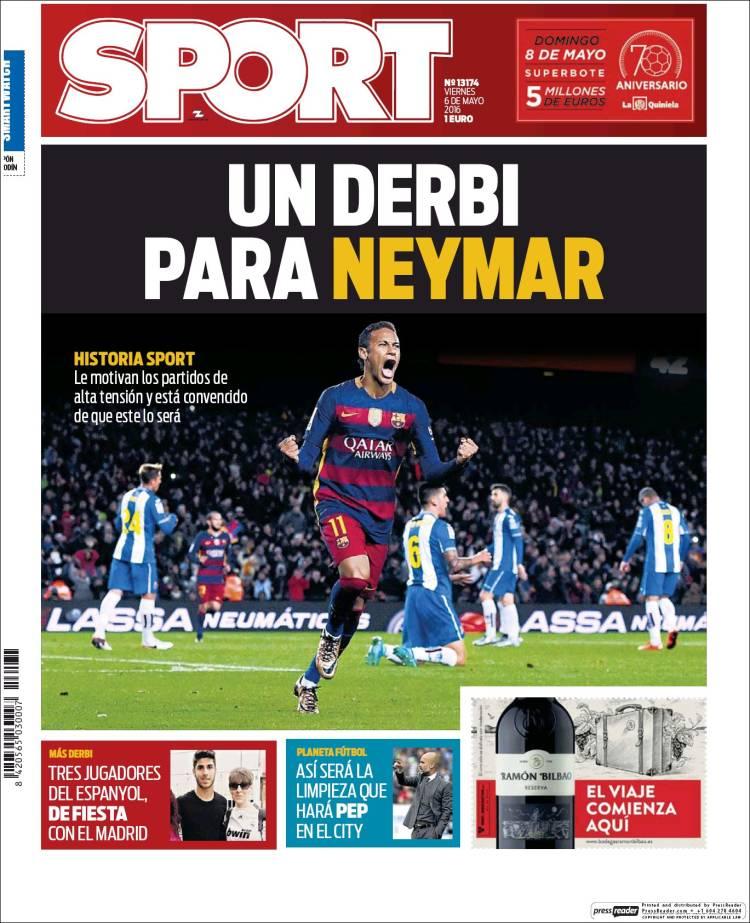 Sport Portada Neymar 06.05.16
