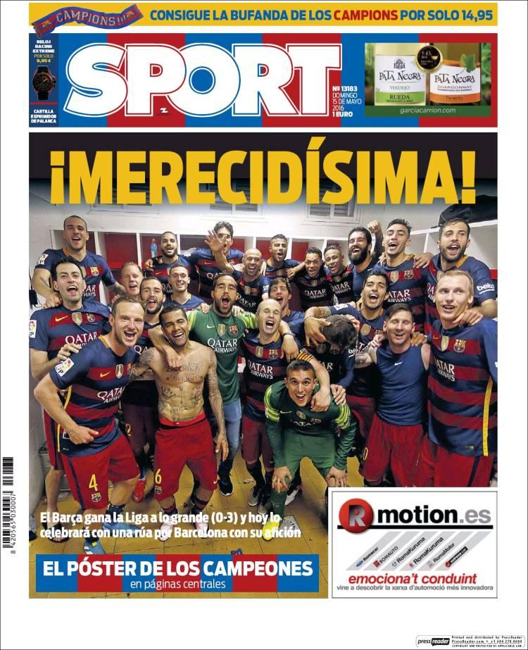 Sport Portada Merecidísima 15.05.16