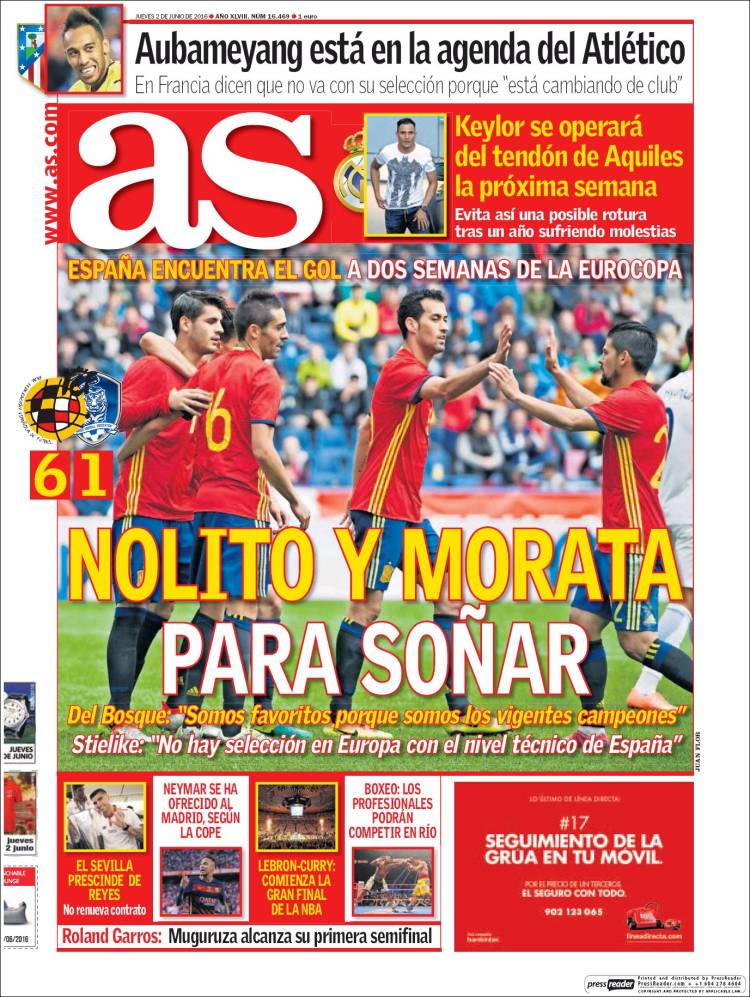 As Portada Nolito Morata 02.06.16