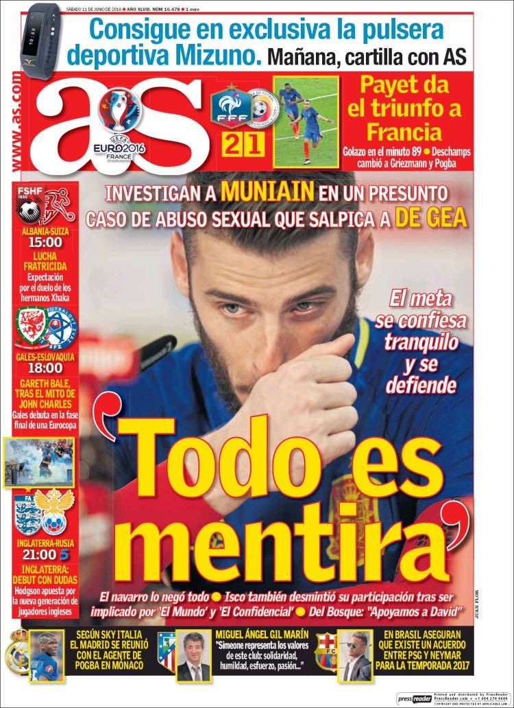 As Portada De Gea mentira 11.06.16