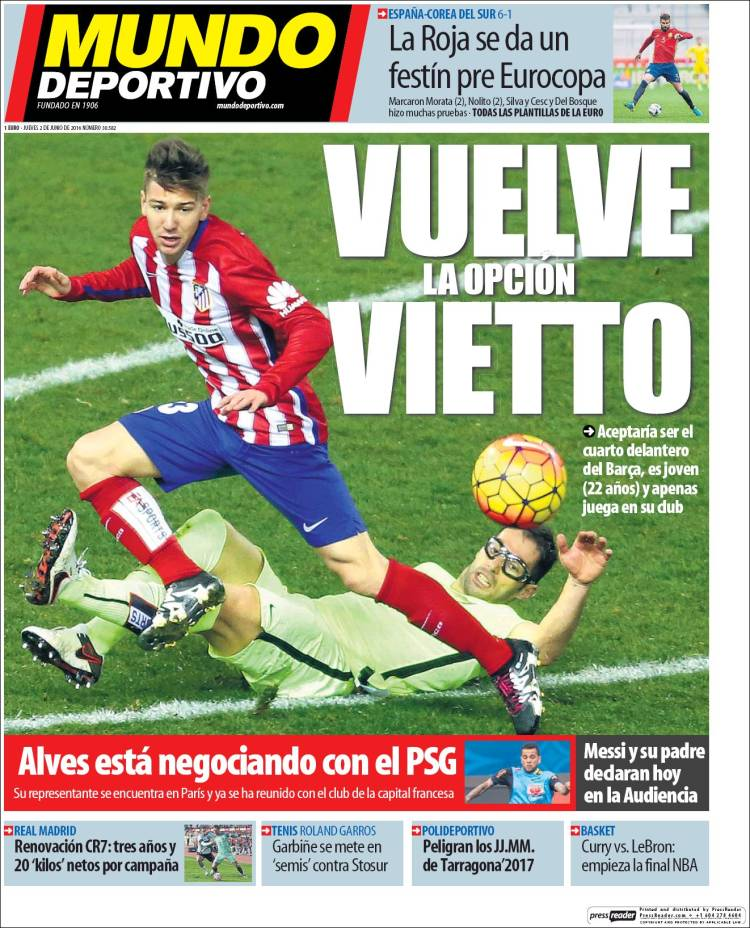 Mundo Deportivo Portada Vietto 02.06.16