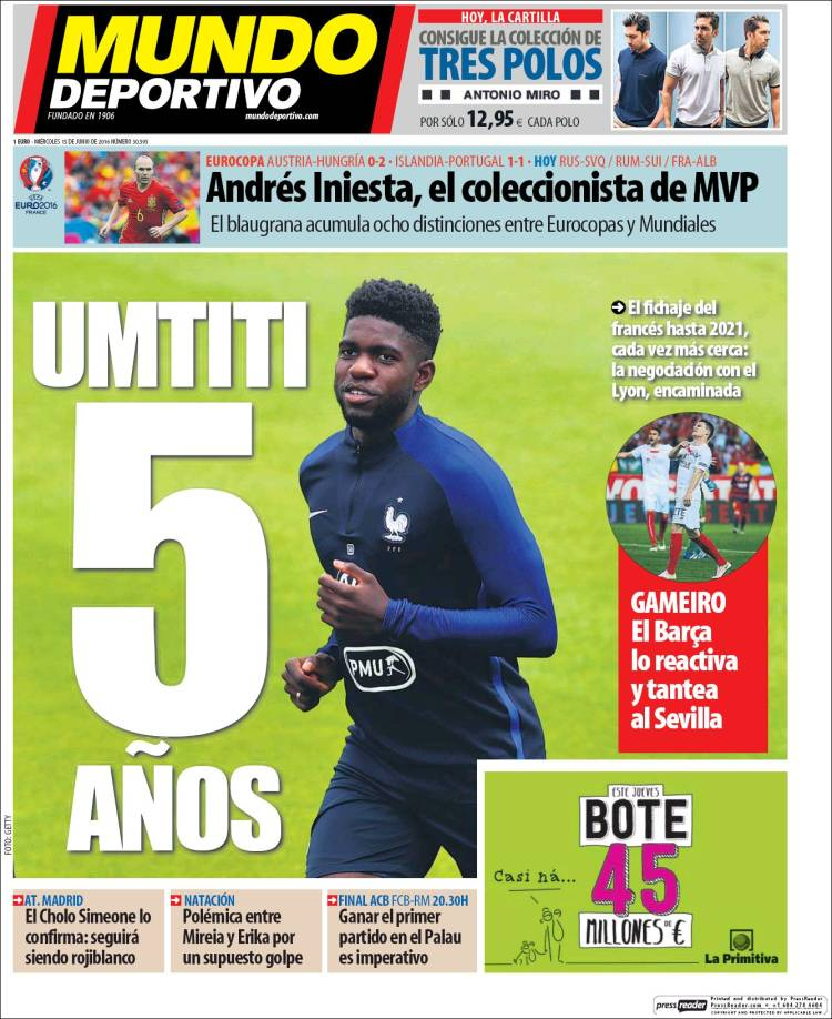Mundo Deportivo Portada Umtiti 15.06.16