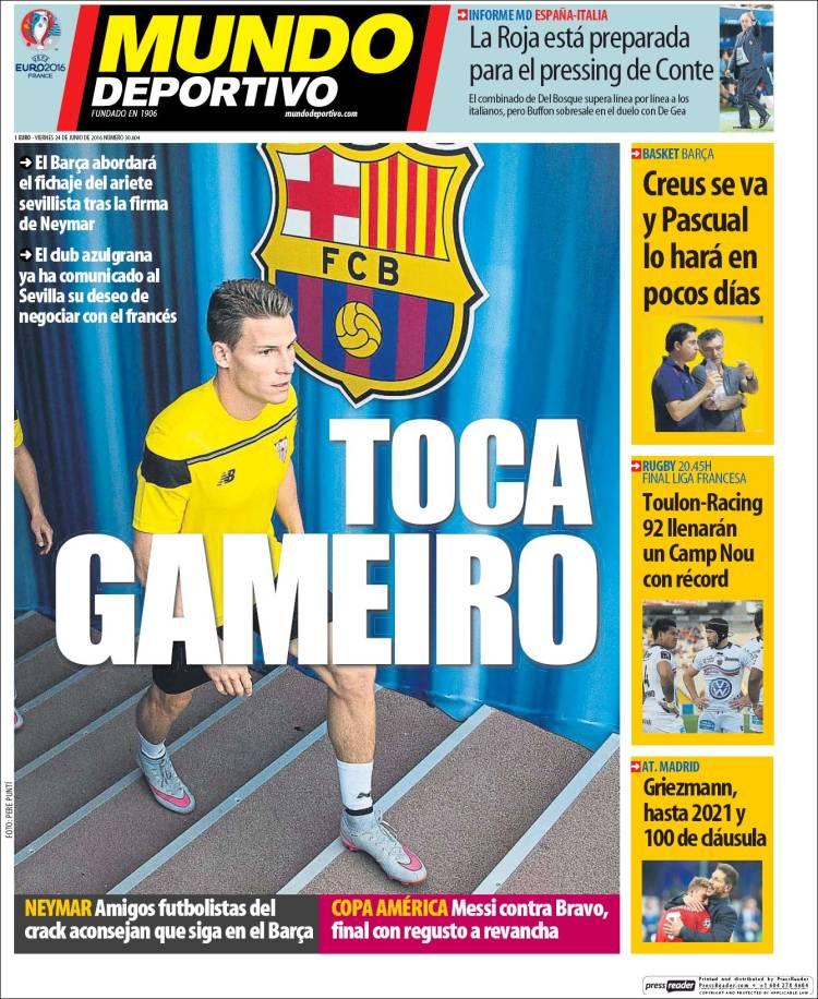 Mundo Deportivo Portada Gameiro 24.06.16