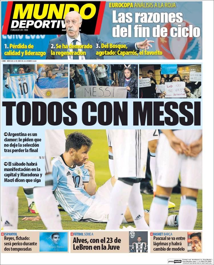 Mundo Deportivo Portada Messi 29.06.16