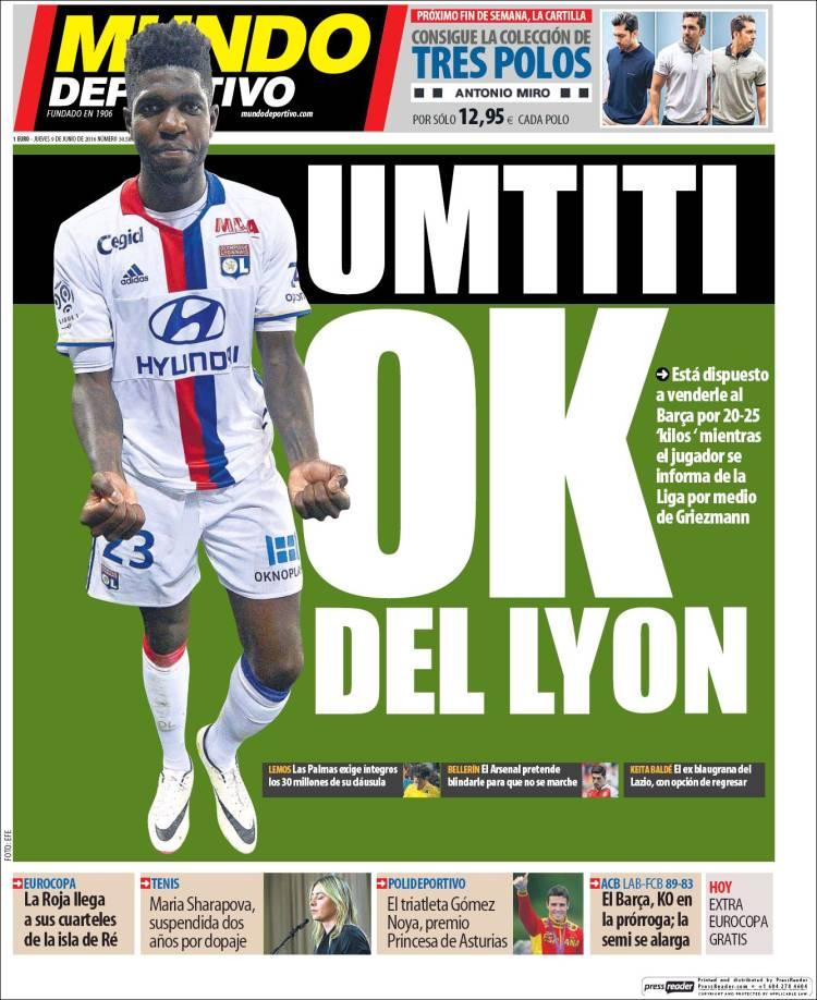 Mundo Deportivo Portada Umtiti 09.06.16