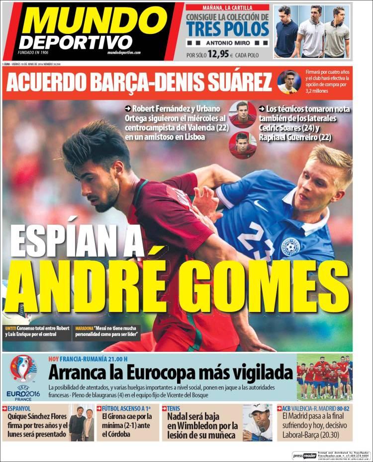 Mundo Deportivo Portada André Gomes 10.06.16